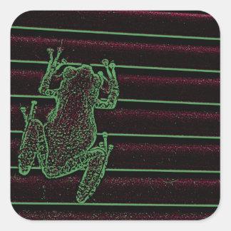 diseño anfibio gráfico del reptil de la rana calcomanías cuadradass personalizadas
