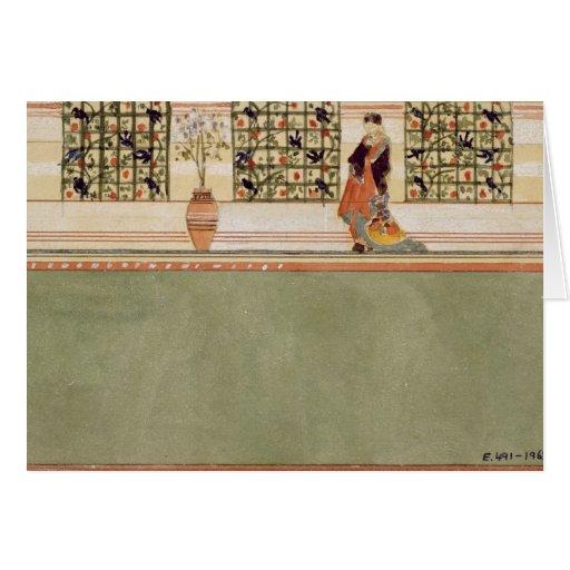 Diseño Anglo-Japonés de la pared, c.1860 (w/c y lá Tarjeta De Felicitación