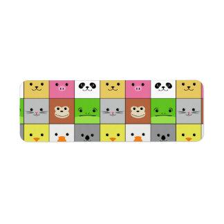 Diseño animal colorido lindo del modelo de los cua etiqueta de remite