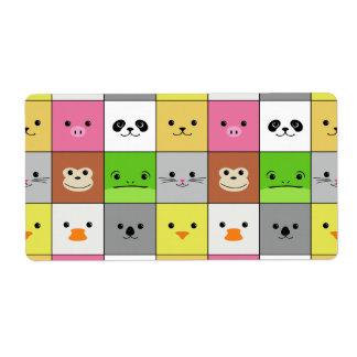 Diseño animal colorido lindo del modelo de los cua etiquetas de envío