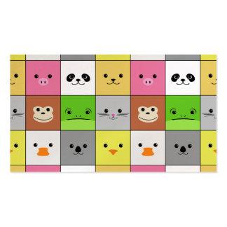 Diseño animal colorido lindo del modelo de los cua plantilla de tarjeta de visita