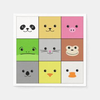 Diseño animal colorido lindo del modelo de los servilleta desechable