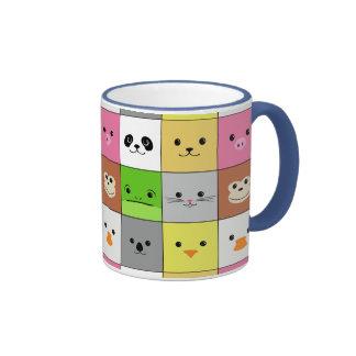 Diseño animal colorido lindo del modelo de los taza de dos colores