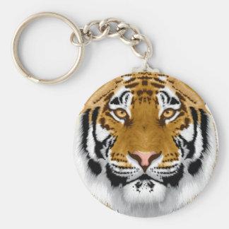 diseño animal de la cabeza del tigre de la fauna llavero