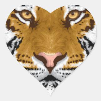 diseño animal de la cabeza del tigre de la fauna colcomanias corazon personalizadas