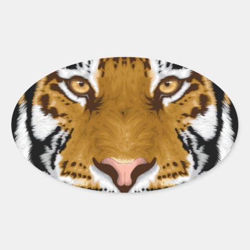 diseño animal de la cabeza del tigre de la fauna pegatina ovalada