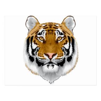 diseño animal de la cabeza del tigre de la fauna postal