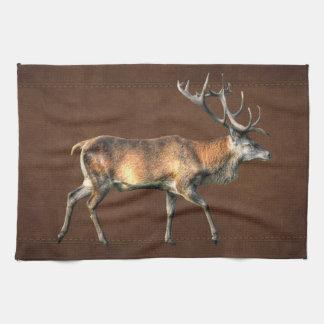 Diseño animal de la fauna del macho del ciervo com toalla de cocina