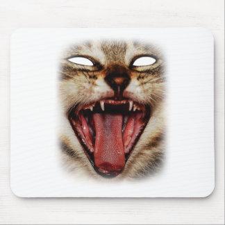 Diseño animal de la máscara loca salvaje del gato mousepad