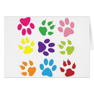 diseño animal de la pata tarjeta de felicitación