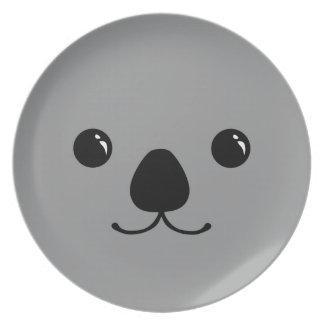 Diseño animal lindo de la cara de la koala gris platos para fiestas