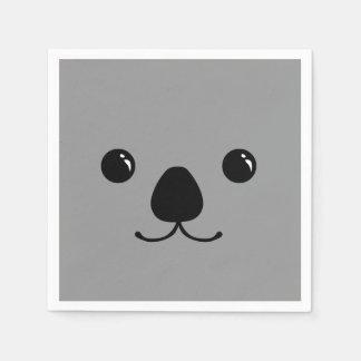 Diseño animal lindo de la cara de la koala gris servilleta desechable