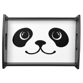 Diseño animal lindo de la cara de la panda blanco  bandejas