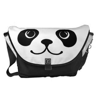 Diseño animal lindo de la cara de la panda blanco  bolsas de mensajería