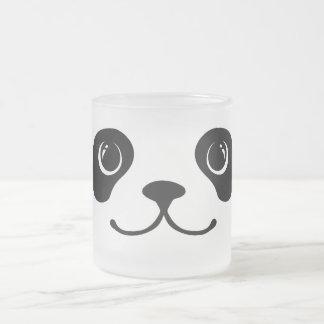 Diseño animal lindo de la cara de la panda blanco taza de cristal