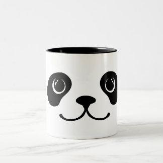 Diseño animal lindo de la cara de la panda blanco taza de dos tonos