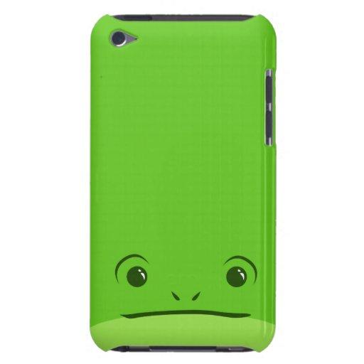 Diseño animal lindo de la cara de la rana verde barely there iPod fundas