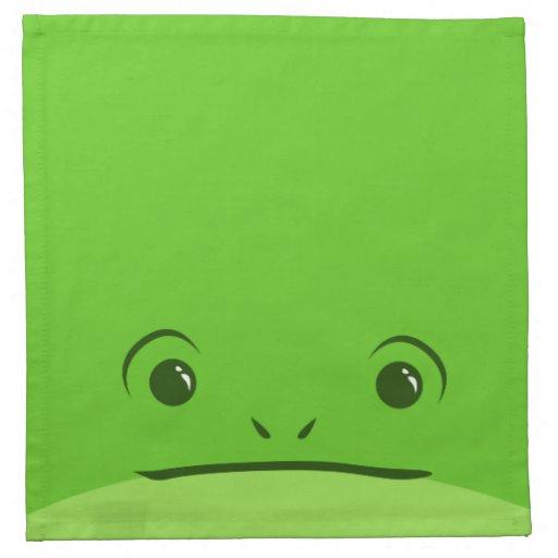 Diseño animal lindo de la cara de la rana verde servilletas imprimidas