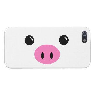 Diseño animal lindo de la cara del cochinillo blan iPhone 5 coberturas