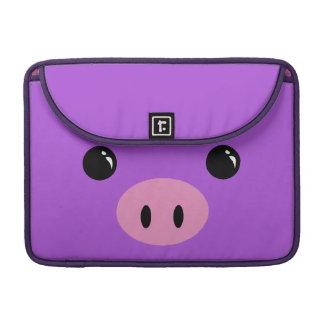 Diseño animal lindo de la cara del cochinillo púrp funda para macbook pro