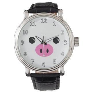 Diseño animal lindo de la cara del cochinillo reloj