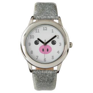Diseño animal lindo de la cara del cochinillo reloj de mano