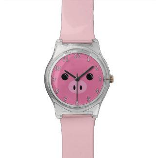 Diseño animal lindo de la cara del cochinillo relojes de pulsera