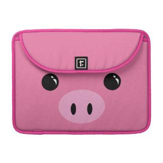Diseño animal lindo de la cara del cochinillo rosa funda para macbook pro