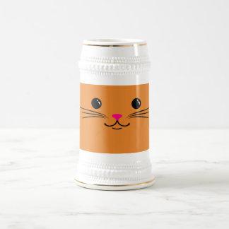 Diseño animal lindo de la cara del gato anaranjado jarra de cerveza