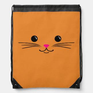 Diseño animal lindo de la cara del gato anaranjado mochila