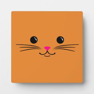 Diseño animal lindo de la cara del gato anaranjado placas
