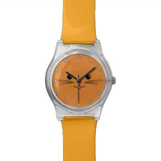 Diseño animal lindo de la cara del gato anaranjado reloj