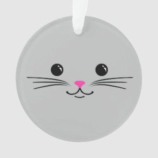 Diseño animal lindo de la cara del gato de plata d