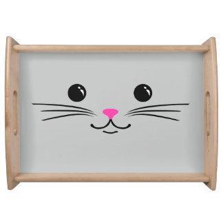 Diseño animal lindo de la cara del gato de plata d bandejas
