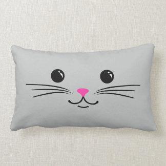 Diseño animal lindo de la cara del gato de plata d almohada