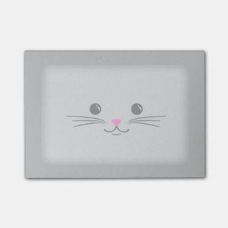 Diseño animal lindo de la cara del gato de plata d nota post-it