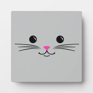 Diseño animal lindo de la cara del gato de plata d placas con fotos
