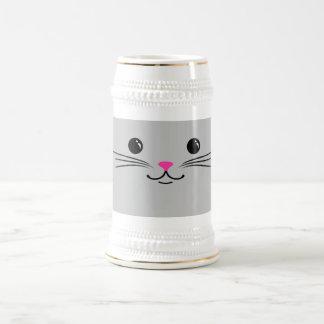 Diseño animal lindo de la cara del gato de plata jarra de cerveza