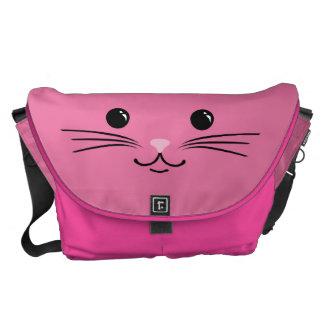 Diseño animal lindo de la cara del gato rosado del bolsas de mensajeria