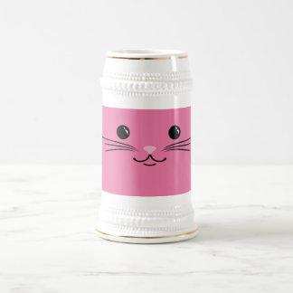Diseño animal lindo de la cara del gato rosado del jarra de cerveza