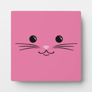 Diseño animal lindo de la cara del gato rosado del placas de madera