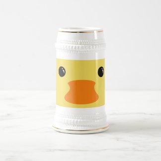 Diseño animal lindo de la cara del pato amarillo jarra de cerveza