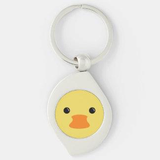 Diseño animal lindo de la cara del pato amarillo llaveros