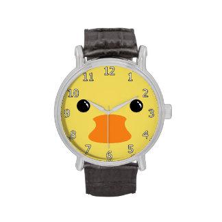 Diseño animal lindo de la cara del pato amarillo relojes de mano