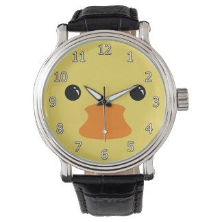 Diseño animal lindo de la cara del pato amarillo reloj de mano