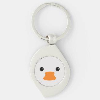 Diseño animal lindo de la cara del pato blanco llaveros