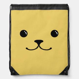 Diseño animal lindo de la cara del perrito amarill mochilas