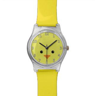 Diseño animal lindo de la cara del pollo amarillo relojes de pulsera