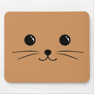 Diseño animal lindo de la cara del ratón de Brown Alfombrillas De Raton
