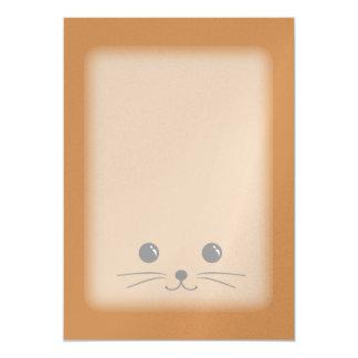 """Diseño animal lindo de la cara del ratón de Brown Invitación 5"""" X 7"""""""